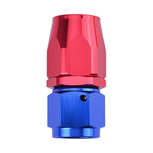 ESPEEDER AN 6 Straight Swivel Oil Fuel Hose End Fitting Adapter Aluminum Blue&Red 6 An Straight Hose End