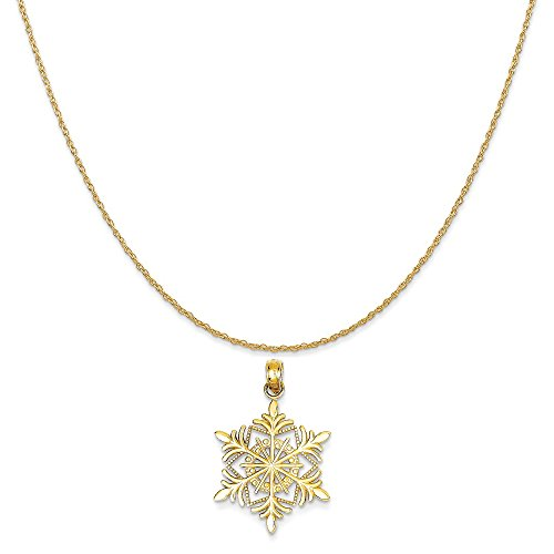 Mireval 14k Yellow Gold Snowflake Pendant on a 14K Yellow Gold Rope Chain Necklace, 16