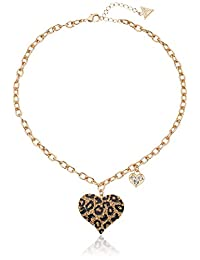 GUESS Womens Gone Wild Animal Print Heart Necklace