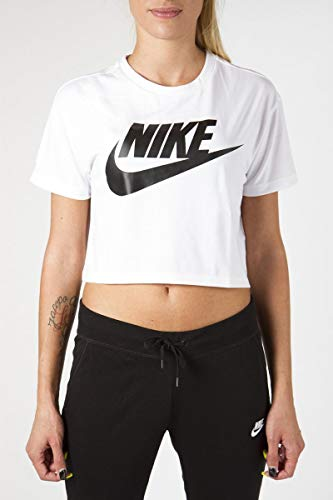 (Nike Womens Essential Short Sleeve Crop Top T-Shirt White/Black AA3144-100 Size)