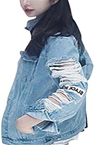 IWFREE Damen Jeansjacke Mantel Denim Jacke Langärmlig Jeans Eleganter Outdoorjacke Oberteile Fashion Jacken Cardigan Sweatblazer Outerwear