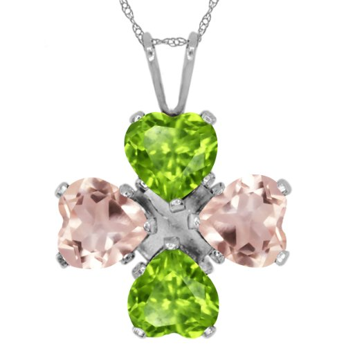 (Gem Stone King 3.06 Ct Heart Shape Green Peridot Rose Rose Quartz 925 Sterling Silver Pendant)