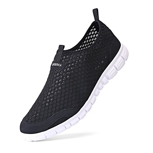 LEADERICA Damen Mesh Wasserschuhe Slip On Casual Beach Sneakers Schwarz