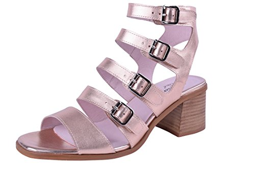 Addiction by Fabia Size 9-13 Women's Genuine Leather Block-Heeled Sandals Ankle Strap Versatile Fit Wide by Addiction by Fabia