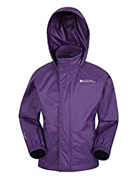 Mountain Warehouse Pakka Kids Rain Jacket - Waterproof, Packable Dark Purple 9-10 years