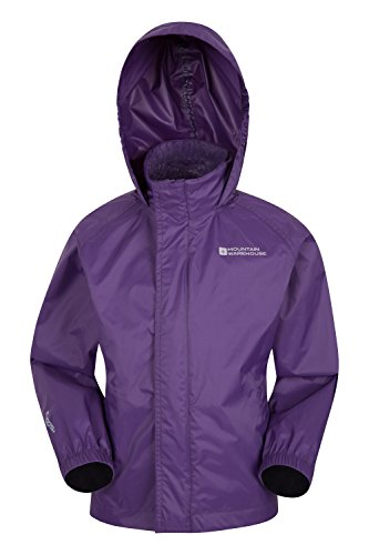 Mountain Warehouse Pakka Kids Rain Jacket - Waterproof, Packable Dark Purple 11-12 Years