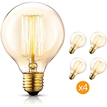 Edison Bulb 4x G25/G80 120V 40Watt 2200K E26 Vintage Decorative Bulb Retro old fashioned Dimmable