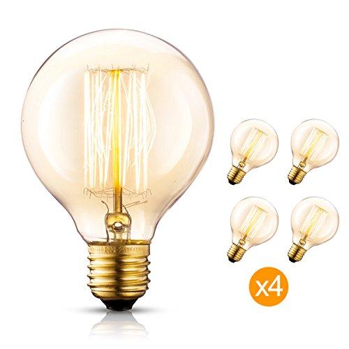 Edison Bulb 4X G25/G80 120V 40Watt 2200K E26 Vintage Decorative Bulb Retro Old Fashioned - Renaissance Table Lamp Style