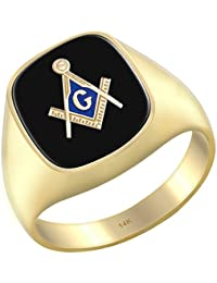 Men's 14k Yellow Gold Blue Lodge Simulated Black Onyx Solid Back Freemason Ring, Size 8 to 14