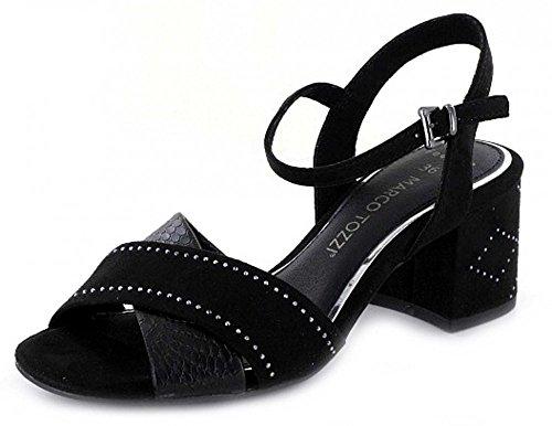 28382 Marco 38 Femme Noir Tozzi Sandale BqFq65Pw