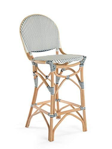 Kouboo 1110077 Rattan Bistro Bar Stool, White/Blue (Outdoor Contract Manufacturers Furniture)