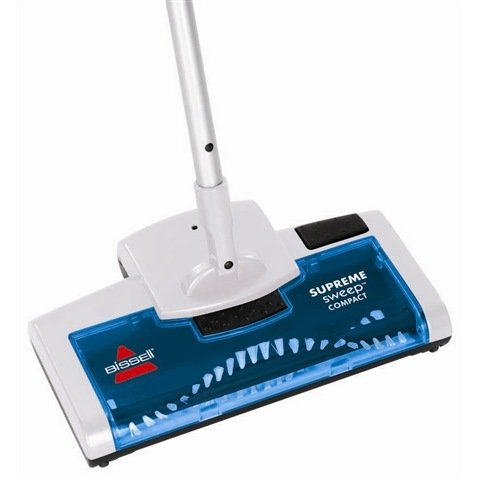 Bissell 15D1E Supreme Sweep Rechargeable Compact Sweeper 4.8 Volts Up to 45 minutes of cleaning time Cleans on bare floors and carpets Slim & compact Lightweight with swivel non-slip handle for ultra-manoeuvrability - White/Blue