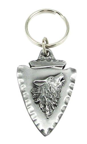 Siskiyou Automotive KR159E Metal Key Chain (Wolf On Arrowhead Enameled Details)