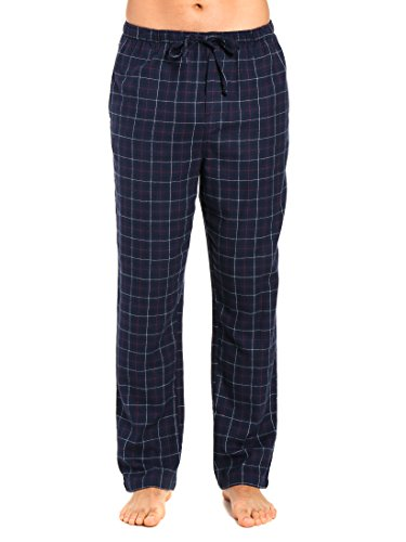 Noble Mount Men's 100% Cotton Flannel Lounge Pant - Plaid Navy-Multi - X-Large