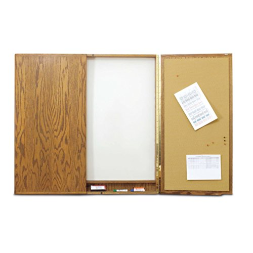 Natural Oak Stain Conference Cabinet w Double Doors & Whiteboard (48 in. x 72 in.)