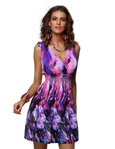 Jinhuanshow Womens Printed Sleeveless Dresses product image
