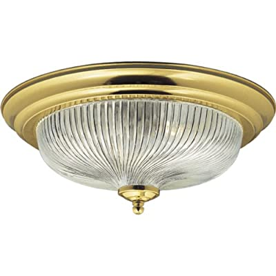 Progress Lighting P3535-10 Close-To-Ceiling Fixture with Swirled Glass, Polished Brass
