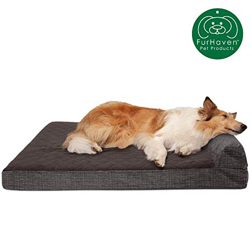 Furhaven Pet Dog Bed | Deluxe Cooling Gel Memory Foam Quilted Fleece & Print Suede Chaise Lounge Living Room Couch Pet Bed w/ Removable Cover for Dogs & Cats, Espresso, Jumbo from Furhaven