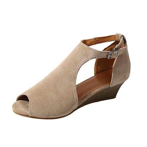 HLHN Señora alto Hebilla Tobillo Vintage Beige de Cuña de Casual pescado Sandalias Mujer tacón Zapatos romana Boca Plataforma rCqrR