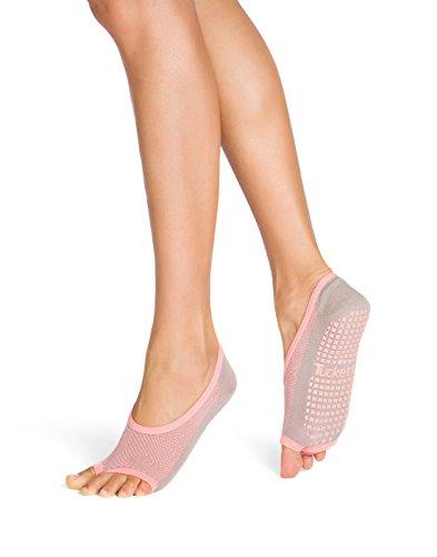 Tucketts Womens Pilates Socks, Toeless Yoga Non Slip Skid Grip Low Cut Socks for Barre, Studio, Bikram, Ballet, Dance - Ballerina Style (Grey/Peach Geo)