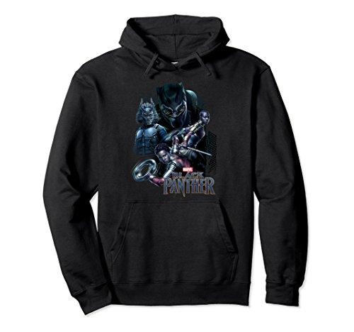 Unisex Marvel Black Panther Movie Okoye Nakia Group Hoodie Large Black (Black Hoodie Hoody)