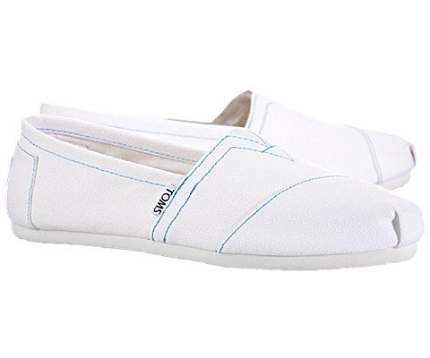 TOMS Womens Classic Canvas Slip On Casual Shoes, White, US 5.5