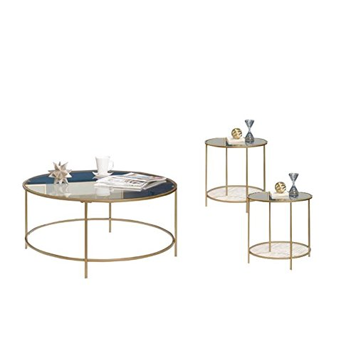 Home Square 3 Piece Coffee Table Set with Coffee Table and Set of 2 End Tables in Gold