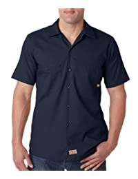Dickies Occupational Workwear LS535NV 3XL Polyester/Cotton Men's Short Sleeve Industrial Work Shirt, 3X-Large, Navy Blue