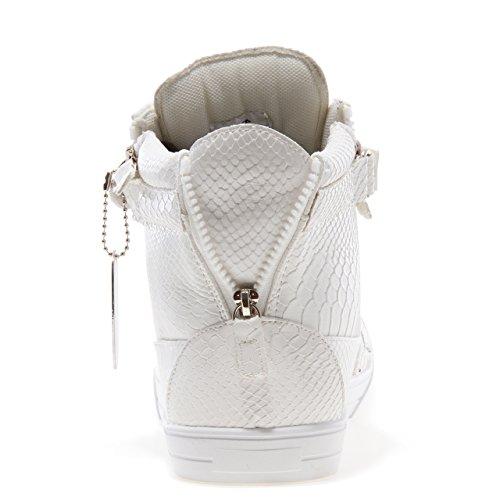 Saltare Cinghia Zion Punta Rotonda Strass High-top Sneaker Allacciata Serpente Bianco Degli Uomini J75