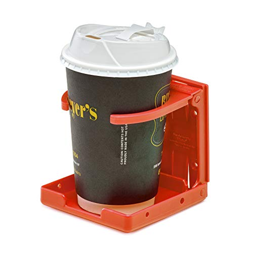AdirMed Universal Drinking Cup Holder - for Any Kind of Strollers, Walkers, Bicycles, Wheelchairs, Rollator, Cane & Crutch (Red)