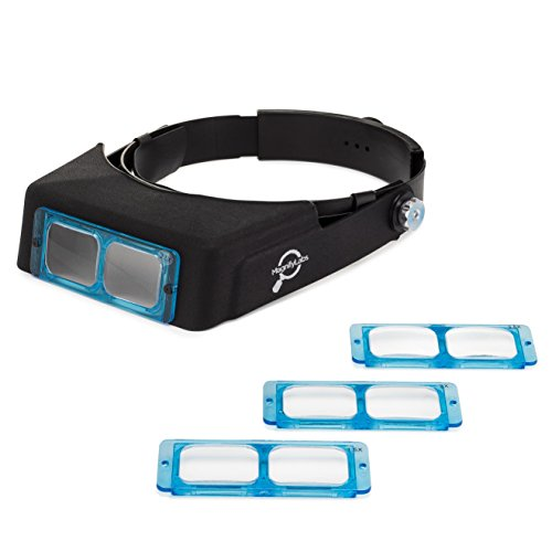 (Headband Magnifier Headset - Magnifying Visor with 4 Real Glass Optical Lens Plates (1.5X, 2X, 2.5X, 3.5X))