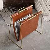 SMSJ-YJ Nordic Minimalist Leather Magazine Rack Creative Desktop Magazine Rack Floor Rack Small Bookshelf (Brown)