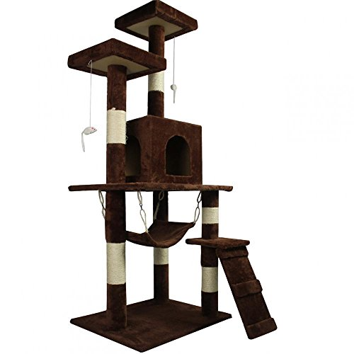 New Brown 57'' Cat Tree Condo Furniture Scratch Post Pet House + FREE E-Book by Eight24hours