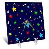 3dRose Alexis Design - America - Fifty Stars Of Freedom. Colorful stars on navy blue background - 6x6 Desk Clock (dc_288373_1)