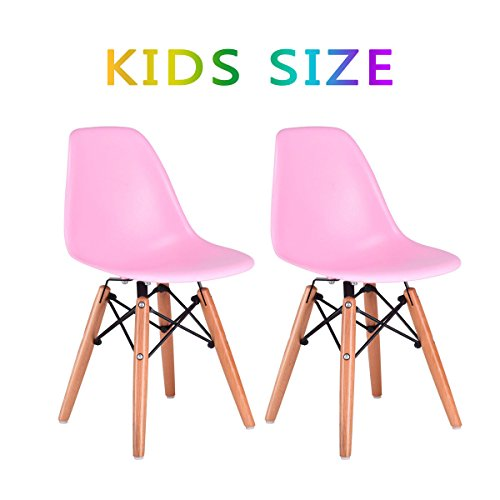 Leg Wood Seat - Costzon Set of 2 Kids Dining Chair, Modern Molded Shell Chair with Dowel Wood Eiffel Legs (Pink)