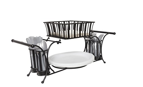 JMiles UH-BC264 Buffet Caddy for Plates, Utensils, Napkins, and More - Perfect Caddy for Displaying and Carrying Food Service Items - Food Service Plate