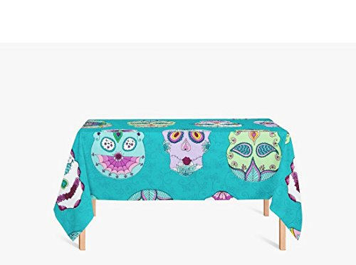 AmyOKeefe Day Of The Dragonfly Sugar Skulls Blue Blue and green Polyester fiber Tablecloths, 55 X 87 Inch (140x220CM)