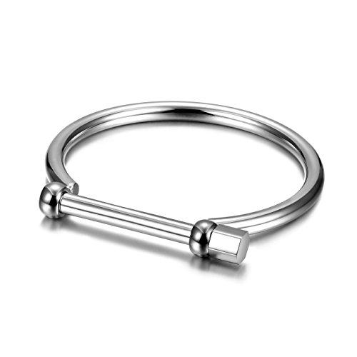Wistic Gold Cuff Bangle Bracelet Stainless Steel Screw Bar Bracelet for Women Men Girls Boys(White for Women)