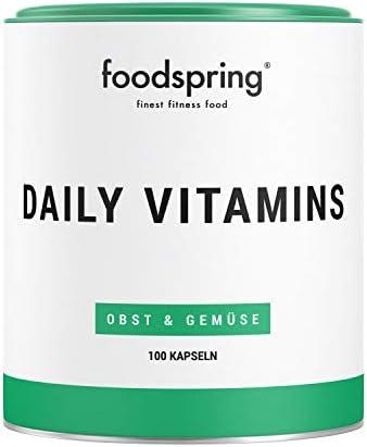 foodspring Daily Vitamins, 100 cápsulas, Suplemento ...