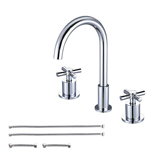 KES 3-Hole Two Handle Widespread Laundry Utility Bathtub Faucet Polished Chrome, L4304 ()