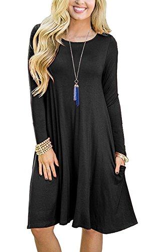 PCEAIIH Women's Summer Plain Simple Pocket T-Shirt Loose Casual Midi Dress (X-Large, Long Sleeve-Black)]()