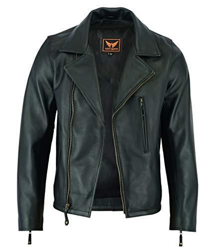 Mens Classic Vintage Genuine Top-Grain Cowhide Bicker Leather Jacket (Black, XX-Large)