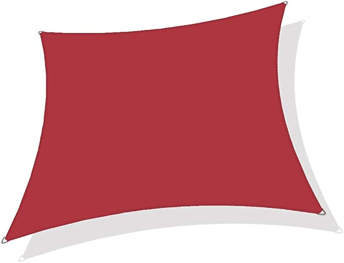 Alion Home 8' x 12' Waterproof Woven Sun Shade Sail in Vibrant Colors (8 ft x 12 ft Retangle) (Burgundy Red)