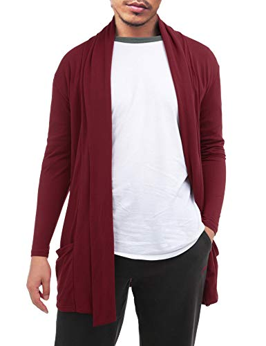 FISOUL Men's Cardigan Ruffle Shawl Collar Cardigan Open Front Blend Long Length Drape Cape -