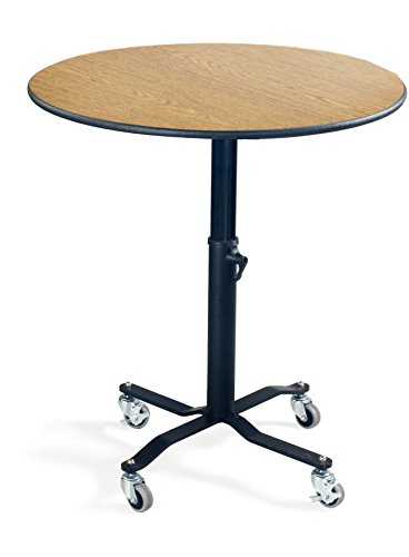 AmTab Mobile Condiment with Adjustable Height, Flip Top/Maple Laminate Top/Black Dyna-Rock, 36