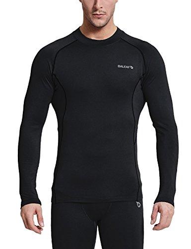 Baleaf Mens Thermal Compression Shirts fleece Baselayer Long Sleeve Top Mock Neck Black/Black Size L