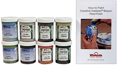 Mayco CGSKIT-1 Crystal Glaze Kit for Ceramics - Set of 8 Best Selling Colors in 4 Ounce Jars with Free How to Paint Ceramics Booklet