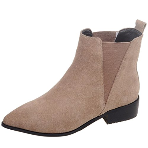 Toe High Boots KemeKiss Ankle Elastic Pointed apricot Women Chelsea Stylish tnnqv8T