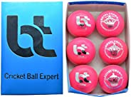 Pink 156g Cricket Balls 4piece Balls Pack of 6 Balls Genuine Leather ,Excellent Quality