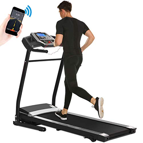 Aceshin Treadmill Folding for Home, Running Machine, Fitness Motorized Treadmills, Smartphone APP Control, Bluetooth, Top Speed 12 KM H